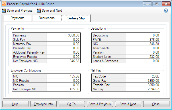andica payroll software on screen payslip showing salaries taxes and net pay